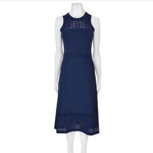Michael Kors True Navy Pointelle Midi Dress